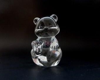 Vintage Glass Teddy Bear  -Birthday Bear with Pink Heart - Fenton Heart Teddy Birthday Bear