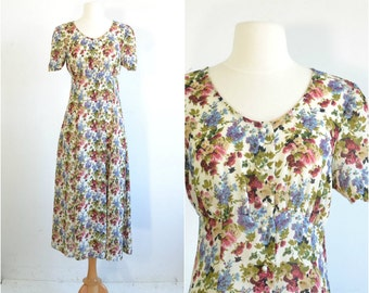 90s does 40s Floral Grunge Dress Sheer Button Front Empire Waist Midi Dress - extra small to small