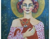 In Good Arms~ Art Print (of painting) Portrait of Woman and Cat By Gritty Jane Spakowsky