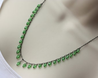 Green Emerald Glass Long Necklace, Silver Dainty Necklace, Birthday Gift for Wife, for Sister, Green Silver Necklace, for Summer Outfit