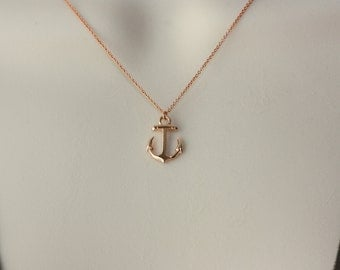 Anchor Rose Gold Charm, Rose Gold Dainty necklace, Marine Theme, Birthday Gift for Wife, Delicate Necklace, Short Gold Necklace, Graduation