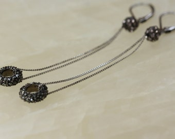 Black Crystals, Hematite Crystal Rings, Contemporary Jewelry, Black Sparkly Earrings, Bithrday Gift for Wife, Goth, Long Chain Earrings
