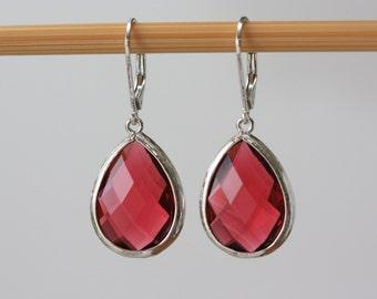 Garnet Red Drops, Silver Red Earrings, Summer Weddings, Red Earrings, Birthday Gift for Wife, for Sister, Trending Now, for Summer Dress,