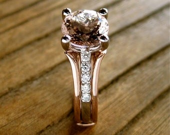 Peach Morganite Engagement Ring with Diamonds in 14K White Gold and Wedding Band Wrap in 14K Rose Gold Size 5