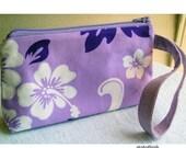 SALE 30% OFF - Cosmetics Wristlet Pouch Pretty Lilac Hawaiian Hibiscus Print - KnitzyBlonde