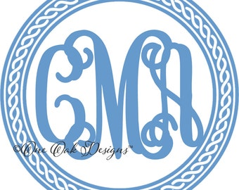Rope Frame for Circle Monogram Font SVG File PDF / dxf / jpg / png / eps / ai / for Cameo for Cricut & other electronic cutters