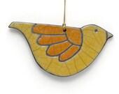 Bird ornament, ceramic, Raku, turquoise, Yellow, handmade,Whimsical Sculpture,home decor