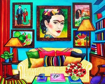 Frida Kahlo Print Art Poster, Mexican art, Frida kahlo poster, Mexican folk art, Original art, A Place for Frida,