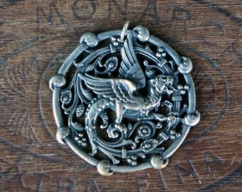Antique French Wyvern Silver Plated Pendant Chimera Dragon Griffin