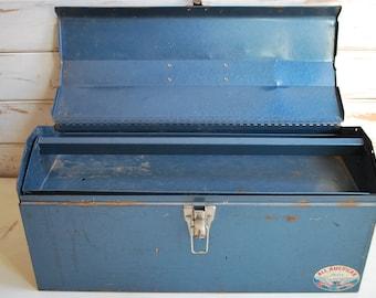 All American Tool Box, Vintage Tool Box, Blue Tool Box, Metal Tool box, Vintage Storage Box, Metal Storage Box