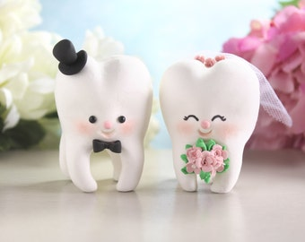 Molar Teeth wedding cake toppers - dentist bride groom dental hygienist odontologist oral surgeon funny cute figurines personalized