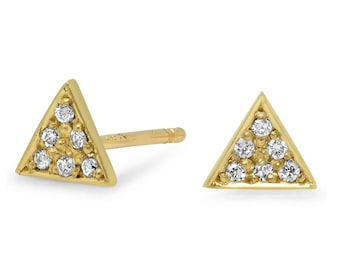 Triangle earrings, Studs Earrings, Diamond Earrings, Pave' Diamonds Earrings, Gold Studs, 14K Earrings.