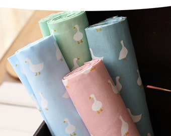 SALE Clearance Lovely Chic Fairy Tale Peter Rabbit White Country Farm Goose On Pink, Green, Sky Blue(Choose Color)-Cotton Fabric(1/2 Yard)
