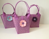 Paper Purse Favor Bag Tote with Flower Embellishment Baby Shower Favor Gift Boxes