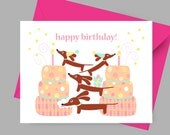 Doxie Dachshund Card - Birthday Doxies Multiplied in Pink with Envelope and Sticker - Dog Birthday Card