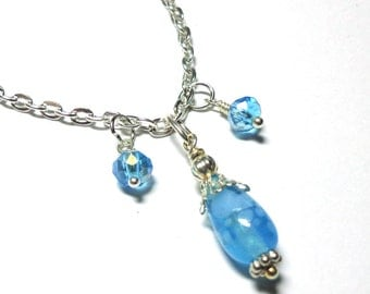 Necklace Aqua Lampwork Bead, Czech Glasst, Antique Silver, Spiritcatdesigns, Free Earrings