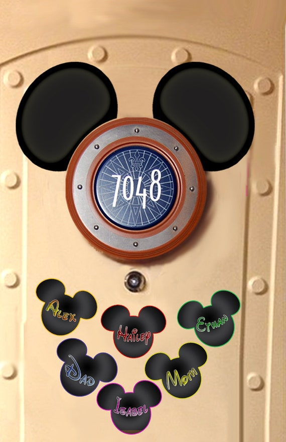 Your Name On Up To Six Disney Cruise Door Magnet Mickey Ears