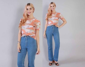 Vintage 70s JEANS / 1970s Boho Blue Denim High Waist Pants Bell Bottoms XS