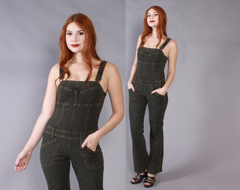 Vintage 90s DENIM OVERALLS / 1990s Striped Black Fitted Bell Bottom Jumpsuit xs