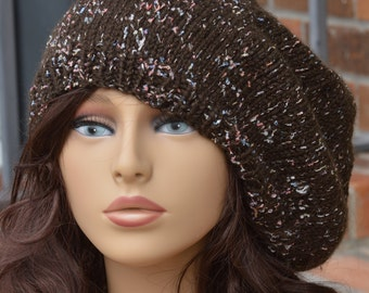 Knit Slouch Beret Hat - Chocolate with Sprinkles Slouch/Beret Knit Hat