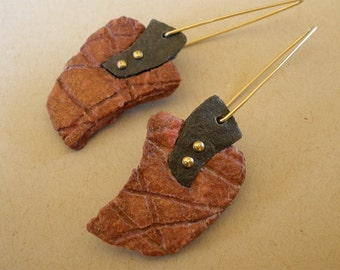Paper Earrings, Rust Colored Hand Cast Paper with Black Accent, Brass Rivets and Gold Filled Earring Wires