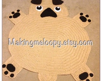 Crocheted Pug Puppy Rug