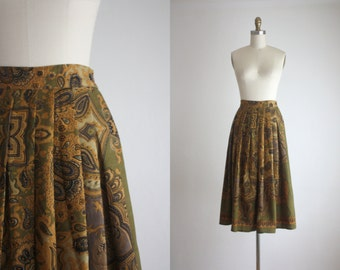 1970s autumn wool midi skirt