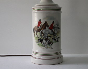 Vintage Porcelain Fox Hunting Equestrian Table Lamp