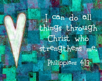 Bible Verse Art Christian Scripture Patchwork Print Philippians 4:13
