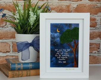 Framed Bible Verse Print Night Sky Scripture Gift Psalms