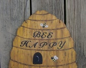 BEEHIVE Custom Wood Sign - Original Hand Painted Hand Crafted Wood