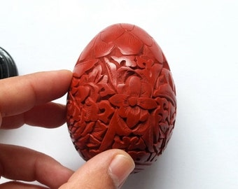 Vintage Handcarved Chinese Cinnabar Lacquer Egg