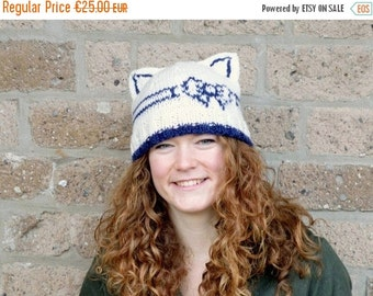 Mad Hat SALE 60% Off - Hand Knit White / Navy Blue Hat with Cat Ears - Knitted Bow - Beanie for Women