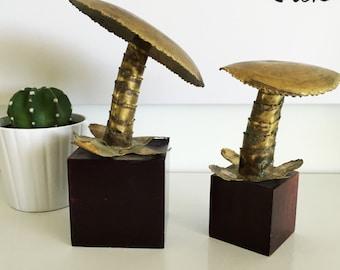 Vintage Mid Century Modern Britalist Metal and Wood Mushroom Sculpture Jere
