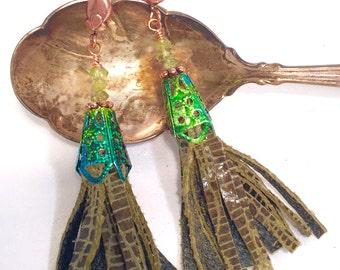 Olive Leather Tassel Earrings