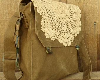 Vintage Crocheted Lace Doily on a Vintage Military Canvas Messenger Bag / Purse