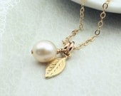 Gold Leaf Necklace dainty leaf and pearl necklace leaf charm necklace 14k Gold Fill bridesmaids gift