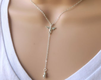 Silver Y Necklace with Bee - layering long necklace - honey bee - minimalist - simple - queen bee