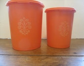 Vintage Tupperware Orange Canisters Set of 2
