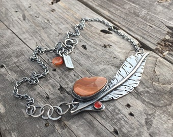 Sterling Silver Feather Necklace Hills Agate & Carnelian Handmade Jewelry Wild Prairie Silver By Joy Kruse
