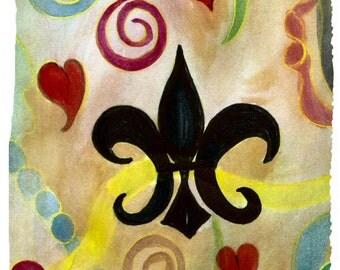 Fleur de lis and hearts art throw blanket from my original art.