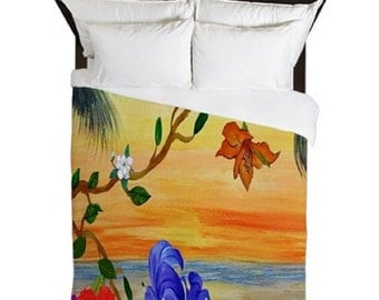 Golden Floral Sunset Beach Duvet Cover from my art. Available in twin,queen and king sizes