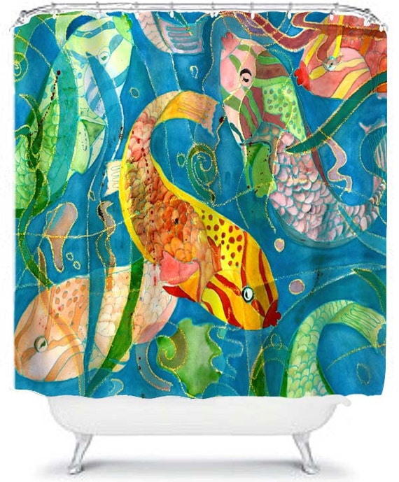 Tropical fish teal background shower curtain from my original for Tropical fish shower curtain
