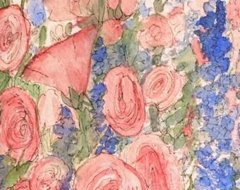 Watercolor Garden Cottage Illustration Pink Hollyhocks Blue Larkspur