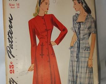 Vintage 1940s Dress Pattern Size 16-34 Simplicity 1145 Ladies Dressing Gown