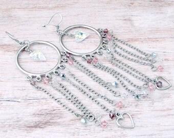 Womens Boho Fringe Earrings - Womens Beaded Fringe Earrings - Long Fringe Earrings - Womens Swarovski Crystal Earrings - Heart Earrings