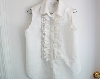 Sleeveless Blouse White Cotton Eyelet Vintage Shirt  Ruffles Sz 6