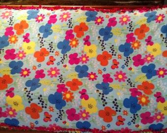 Multi Colored Flowers and Butterfly Fleece Tie Blanket