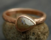 Rose Cut Diamond in  Recycled 14k Gold Ring- Custom Made to Order Engagement Ring