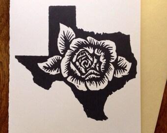 Texas Rose Block Print Card
